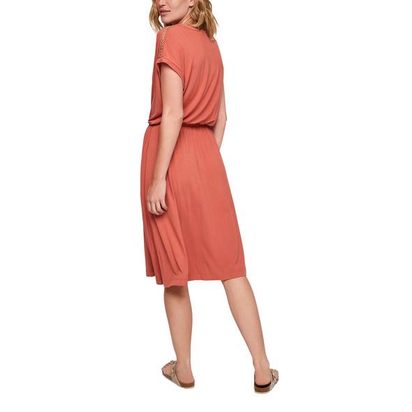 Materialmix-Kleid mit Bindeband - Midikleid
