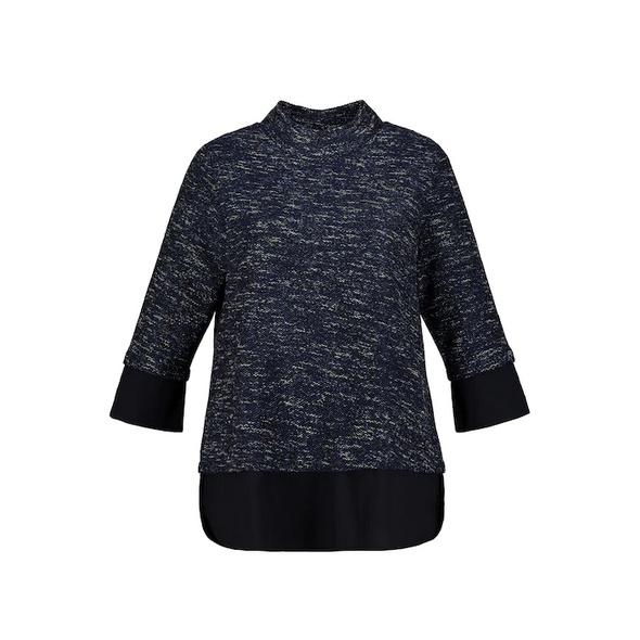 Sweatshirt, Lagenoptik, A-Linie, Stehkragen, 3/4-Arm