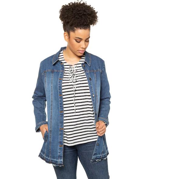 Jeansjacke, Gürtel, längere Form, Destroy-Effekte