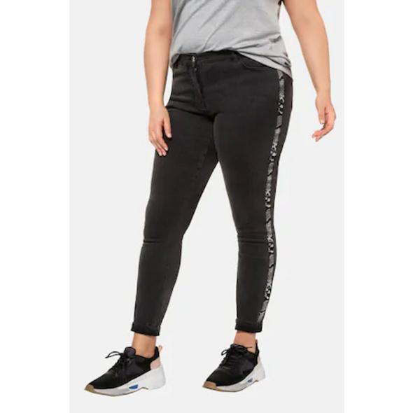 Skinny-Jeans, Schlangen-Highlight, Seitenstreifen