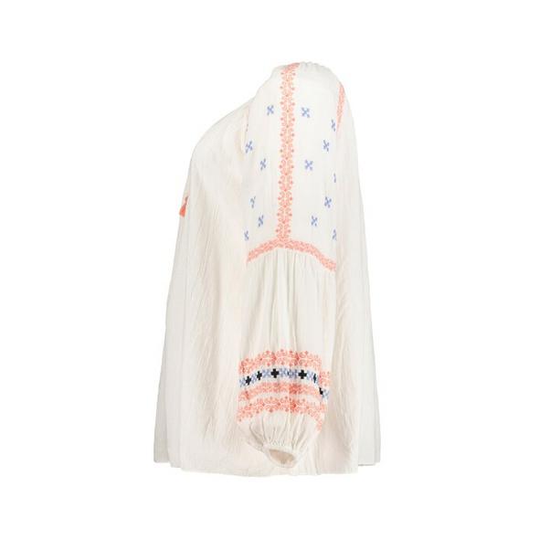 Tunika, transparent, bestickte Ärmel, Quastenband