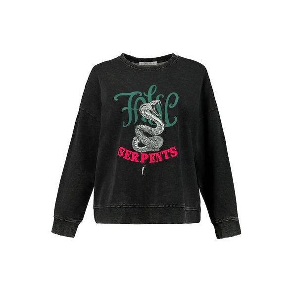 Sweatshirt, Rundhals, Oversized, Langarm, Print, Acid Washed