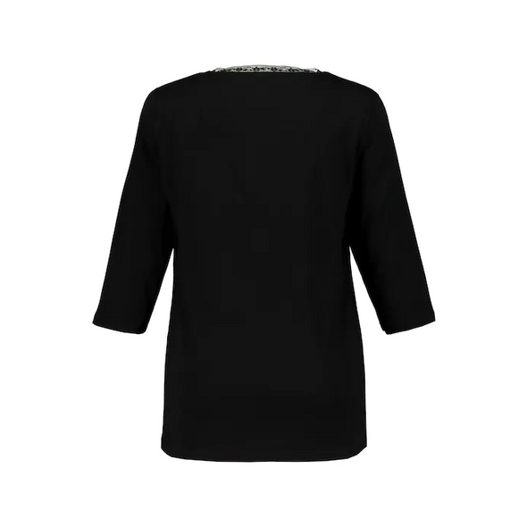 Shirt, Mesh mit Stickerei, blickdichter Jersey, selection