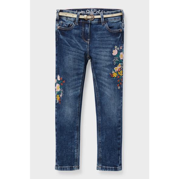 Skinny Jeans mit Gürtel - recycelt