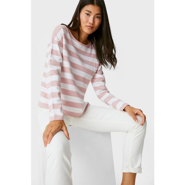 Basic-Pullover - gestreift