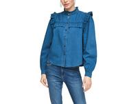 Light Denim-Bluse mit Rüschen - Jeansbluse